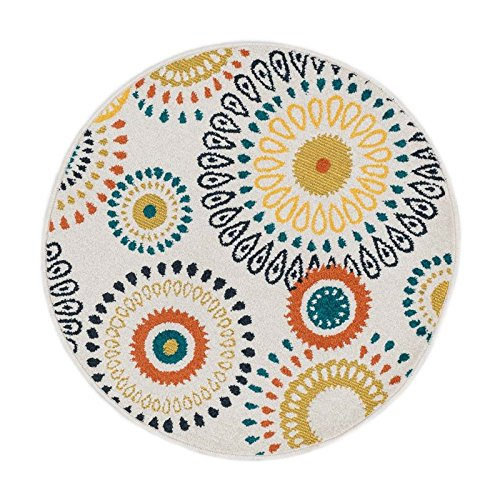 Loloi Rugs TERCHTC18IVML300R Terrace Indoor/Outdoor Round Area Rug ...
