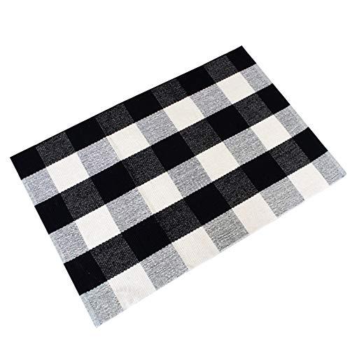 Ustide 100 Cotton Black White Hand Woven Checkered Plaid